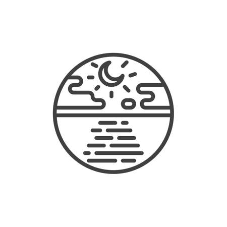 Night sea with moon and clouds line icon. linear style sign for mobile concept and web design. Tranquil seascape outline vector icon. Symbol, logo illustration. Vector graphics