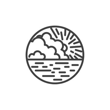 Sunrise seascape line icon. Nature landscape linear style sign for mobile concept and web design. Sunset with sea and clouds outline vector icon. Symbol, logo illustration. Vector graphics