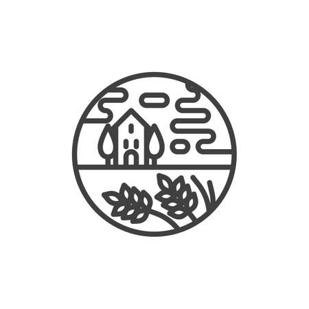 Rural landscape line icon. linear style sign for mobile concept and web design. Cottage house and trees outline vector icon. Symbol, logo illustration. Vector graphics