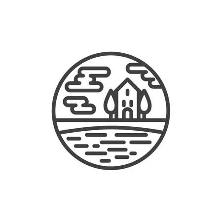 Cottage house with trees and pond line icon. linear style sign for mobile concept and web design. Rural landscape outline vector icon. Symbol, logo illustration. Vector graphics