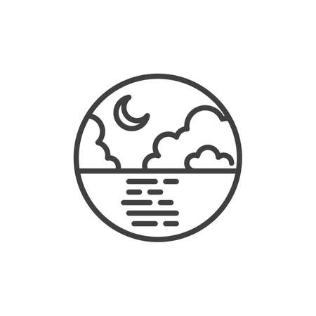 Sea and crescent moon line icon. linear style sign for mobile concept and web design. Night sky clouds and moon over the sea outline vector icon. Symbol, logo illustration. Vector graphics