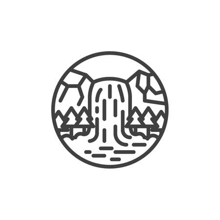 Waterfall mountain scene line icon. linear style sign for mobile concept and web design. Forest waterfall over a rocky cliff outline vector icon. Symbol, logo illustration. Vector graphics Ilustração