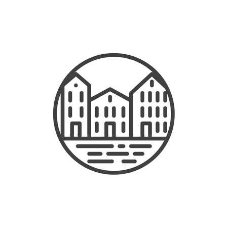 Cityscape buildings line icon. linear style sign for mobile concept and web design. Downtown landscape outline vector icon. Symbol, logo illustration. Vector graphics Ilustração