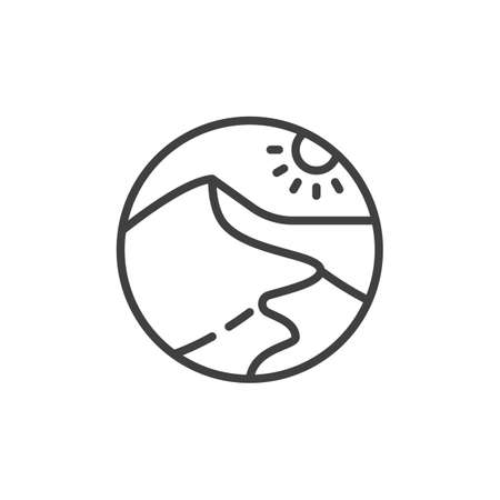 Desert landscape line icon. linear style sign for mobile concept and web design. Sand Dunes and sun outline vector icon. Symbol, logo illustration. Vector graphics