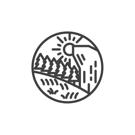 Mountain forest landscape line icon. linear style sign for mobile concept and web design. Forest trees with mountain and sun outline vector icon. Symbol, logo illustration. Vector graphics