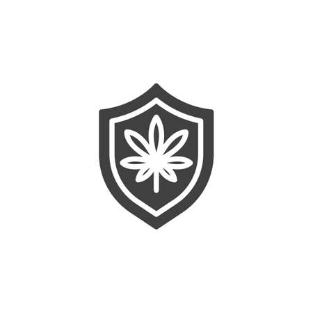 Shield with marijuana leaves vector icon. filled flat sign for mobile concept and web design. Cannabis shield glyph icon. Symbol, logo illustration. Vector graphics Ilustração