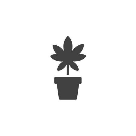 Marijuana plant vector icon. filled flat sign for mobile concept and web design. Cannabis flower pot glyph icon. Medical drug symbol, logo illustration. Vector graphics