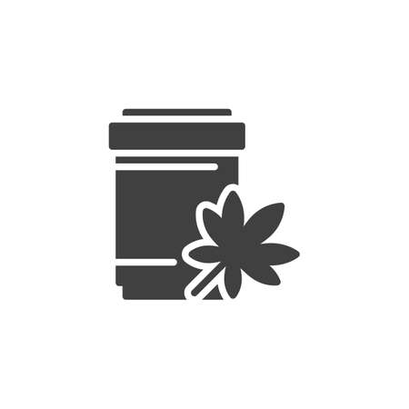 Medical marijuana bottle vector icon. filled flat sign for mobile concept and web design. Cannabis medical drug glyph icon. Symbol, logo illustration. Vector graphics