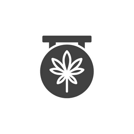 Medical marijuana store vector icon. filled flat sign for mobile concept and web design. Cannabis shop sign glyph icon. Symbol, logo illustration. Vector graphics
