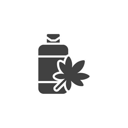 Medical Marijuana bottle vector icon. filled flat sign for mobile concept and web design. Cannabis Oil Extract glyph icon. Symbol, logo illustration. Vector graphics