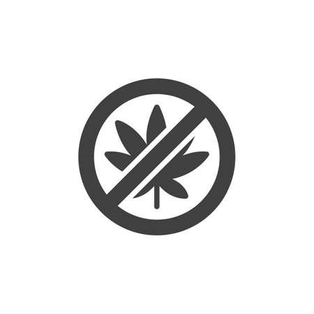 No cannabis vector icon. filled flat sign for mobile concept and web design. No Hemp Marijuana glyph icon. Cannabis leaf prohibition symbol, logo illustration. Vector graphics Ilustração