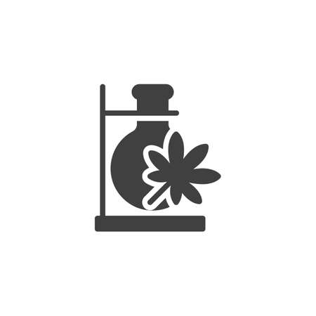 Cannabis laboratory test tube vector icon. filled flat sign for mobile concept and web design. Chemical flask with marijuana leaf glyph icon. Symbol, logo illustration. Vector graphics