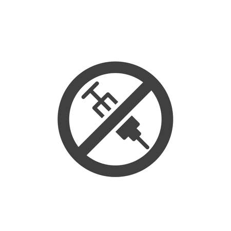 No injection ban vector icon. Stop syringe prohibited filled flat sign for mobile concept and web design. No drugs allowed glyph icon. Symbol, logo illustration. Vector graphics