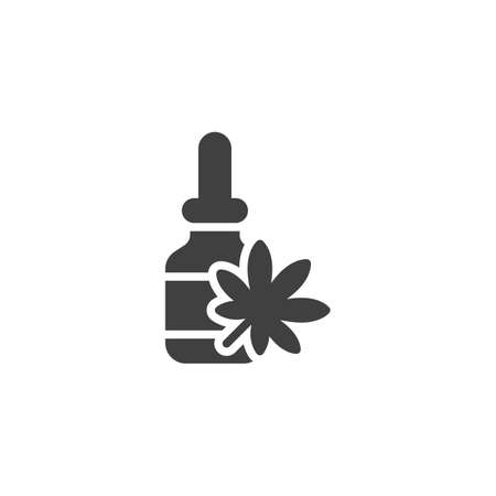 CBD oil bottle vector icon. Cannabis filled flat sign for mobile concept and web design. Medical Marijuana dropper glyph icon. Symbol, logo illustration. Vector graphics