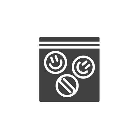 LSD pills package vector icon. filled flat sign for mobile concept and web design. Ecstasy tablets package glyph icon. Symbol, logo illustration. Vector graphics
