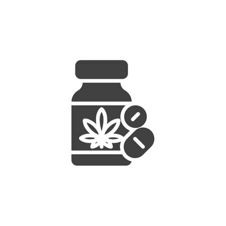 Cannabis pills bottle vector icon. Hemp medicines filled flat sign for mobile concept and web design. Medical marijuana tablets glyph icon. Symbol, logo illustration. Vector graphics
