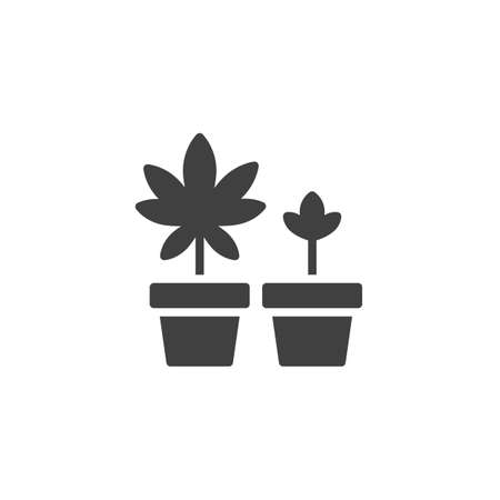 Cannabis plant in a pot vector icon. filled flat sign for mobile concept and web design. Growing marijuana plant glyph icon. Symbol, logo illustration. Vector graphics