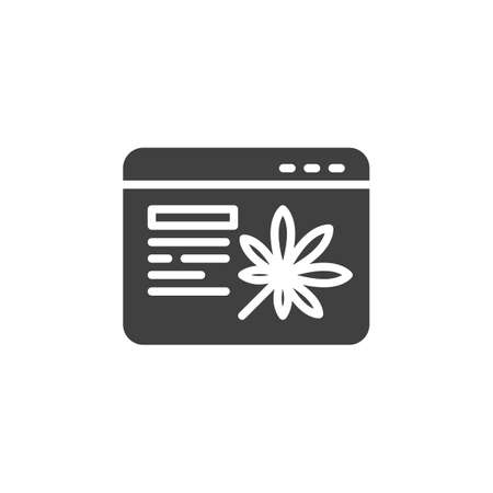 Online Cannabis store vector icon. filled flat sign for mobile concept and web design. Marijuana shop web browser glyph icon. Symbol, logo illustration. Vector graphics