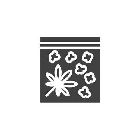 Medical cannabis buds vector icon. filled flat sign for mobile concept and web design. Marijuana leaf package glyph icon. Symbol, logo illustration. Vector graphics Ilustração