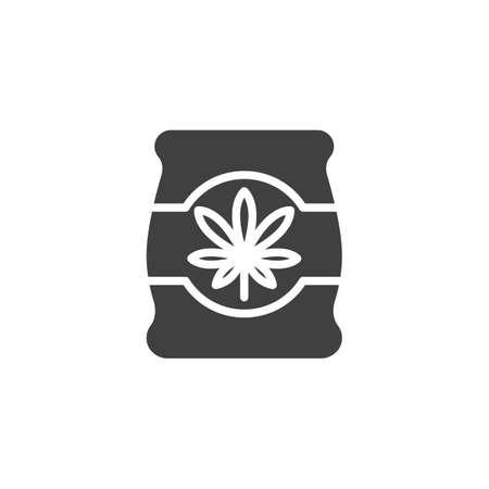 Cannabis package vector icon. filled flat sign for mobile concept and web design. Marijuana pack glyph icon. Symbol, logo illustration. Vector graphics