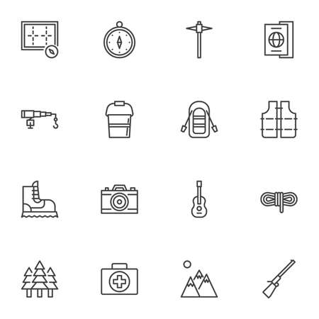 Camping line icons set. linear style symbols collection hiking outline signs pack. vector graphics. Set includes icons as navigation compass, travel document, photo camera, safety vest, first aid kit