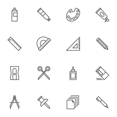 Art drawing tool line icons set. linear style symbols collection, stationery tool outline signs pack. vector graphics. Set includes icons as paint spray bottle, color palette, ruler, pencil, scissors