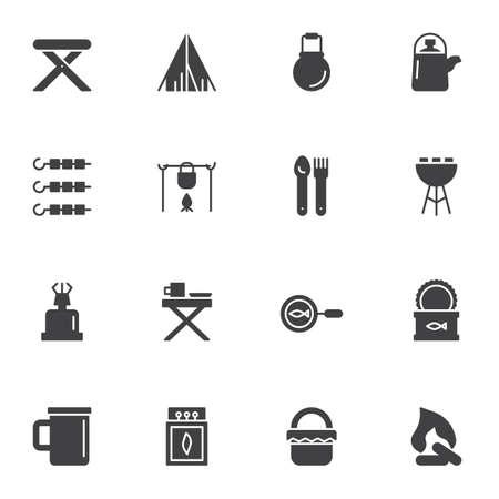 Conjunto de iconos de vector de comida de camping de cocina, colección de símbolo sólido moderno, paquete de pictogramas de estilo lleno. Signos, ilustración del logo. El juego incluye iconos como pescado enlatado, hoguera, fogata, olla, carpa, fósforos