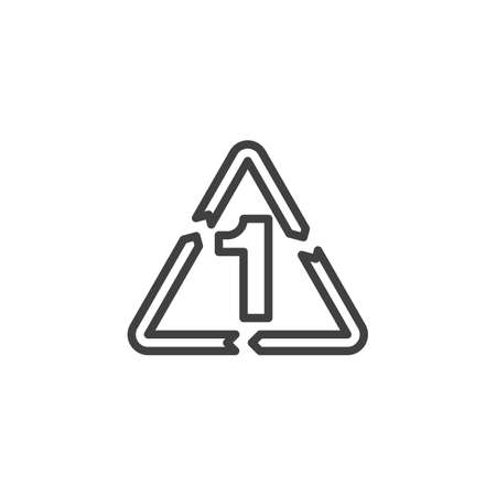 PETE 1, industrial marking plastic line icon. linear style sign for mobile concept and web design. Polyethylene terephthalate outline vector icon. Symbol, logo illustration. Vector graphics Vectores