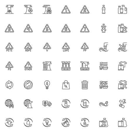 Set di icone della linea di inquinamento ambientale. raccolta di simboli di stile lineare, pacchetto di segni di contorno di disastro ecologico. grafica vettoriale. Il set include icone come fumo di camino industriale, bottiglia di plastica nell'oceano