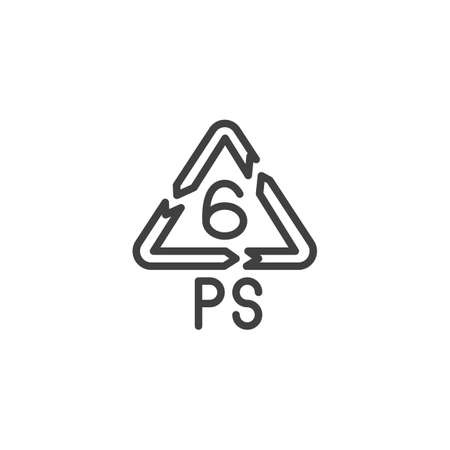 Polystyrene product line icon. linear style sign for mobile concept and web design. PS 6, industrial marking plastic outline vector icon. Symbol, logo illustration. Vector graphics Vectores