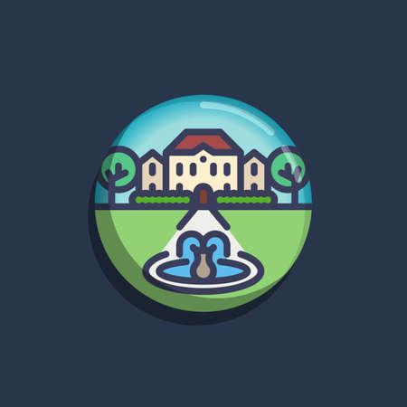 Luxury villa, mansion with trees and fountain flat icon. Round colorful button, House with a fountain circular vector sign. Flat style design