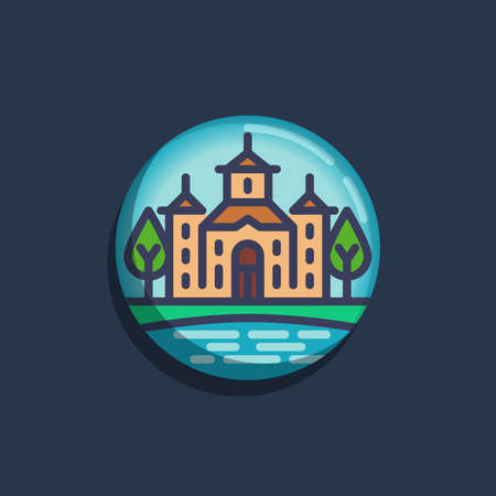 Church building with pond and trees flat icon. Round colorful button, Rural church landscape circular vector sign. Flat style design