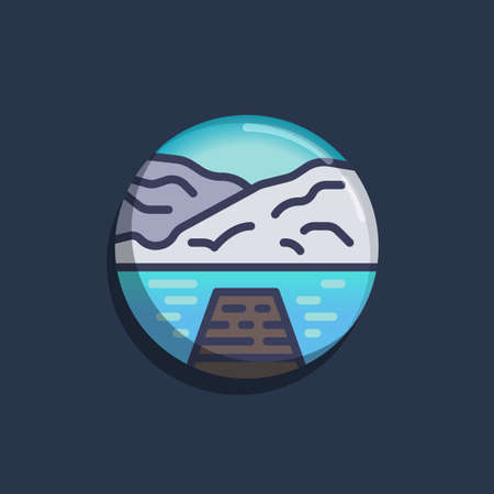 Wood Pier with lake water and mountain flat icon. Round colorful button, Sea with mountains and pier circular vector sign. Flat style design