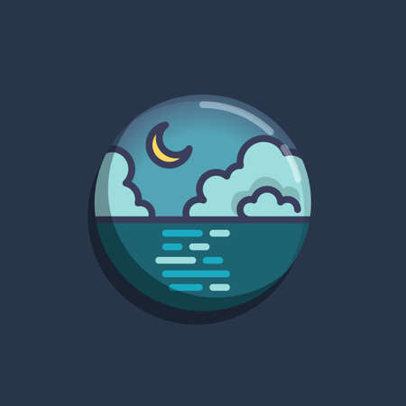 Night sky clouds and moon over the sea flat icon. Round colorful button, Sea and crescent moon circular vector sign. Flat style design Ilustração