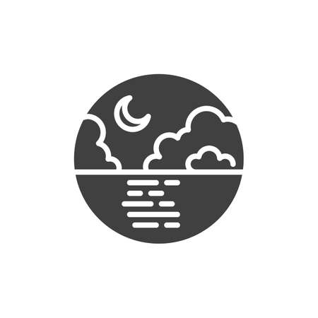 Sea and crescent moon vector icon. filled flat sign for mobile concept and web design. Night sky clouds and moon over the sea glyph icon. Symbol, logo illustration. Vector graphics Ilustração