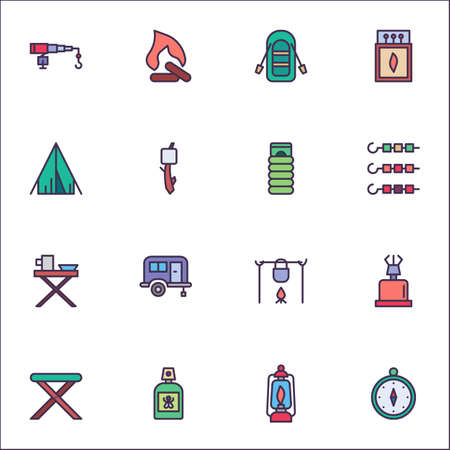 Camping filled outline icons set, Hiking line vector symbol collection, linear colorful pictogram pack. Signs, logo illustration, Set includes icons as fishing rod, campfire, sleeping bag, compass Stock Illustratie
