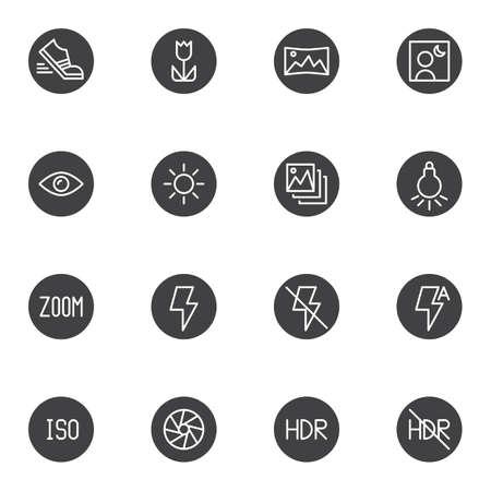 Conjunto de iconos de vector de configuración de cámara de fotos, colección de símbolo sólido moderno, paquete de pictogramas de estilo lleno. Ilustración del logo de signos. El juego incluye iconos como modo retrato, configuración manual, programa de modo deportivo Logos