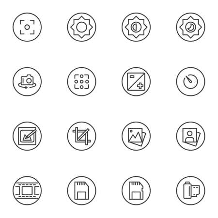 Camera settings line icons set. linear style symbols collection, outline signs pack. vector graphics. Set includes icons as night mode, aperture, filmstrip, memory card, viewfinder, shutter speed