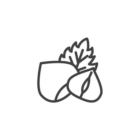 Hazelnut with leaf line icon. linear style sign for mobile concept and web design. Peeled hazelnut outline vector icon. Symbol, logo illustration. Vector graphics 일러스트