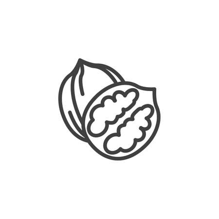 Walnut nut line icon. linear style sign for mobile concept and web design. Whole and peeled walnut outline vector icon. Symbol, logo illustration. Vector graphics