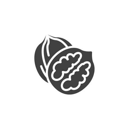 Walnut nut vector icon. filled flat sign for mobile concept and web design. Whole and peeled walnut glyph icon. Symbol, logo illustration. Vector graphics Ilustração