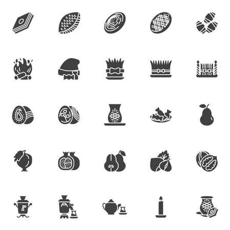 Novruz Feiertagsbonbons Vektorsymbole gesetzt, moderne solide Symbolsammlung, gefülltes Piktogrammpaket. Zeichen, Logoillustration. Das Set enthält Symbole wie Pakhlava, Shekerbura, Gogal, Mutaki, Eier, Lagerfeuer