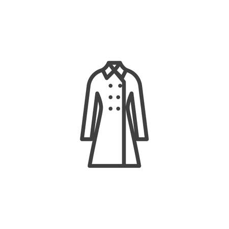 Womens coat line icon. linear style sign for mobile concept and web design. Trench coat outline vector icon. Symbol, logo illustration. Vector graphics