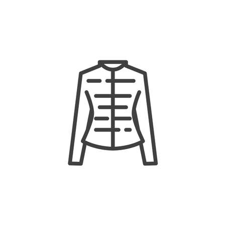 Womens jacket line icon. Female clothes linear style sign for mobile concept and web design. Long sleeve shirt outline vector icon. Symbol, logo illustration. Vector graphics Ilustração