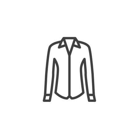 Female shirt line icon. linear style sign for mobile concept and web design. Women dress shirt with long sleeves outline vector icon. Symbol, logo illustration. Vector graphics