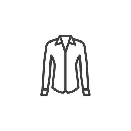 Icono de línea de camisa femenina. signo de estilo lineal para concepto móvil y diseño web. Camisa de vestir de mujer con icono de vector de contorno de manga larga. Símbolo, ilustración de logotipo. Gráficos vectoriales