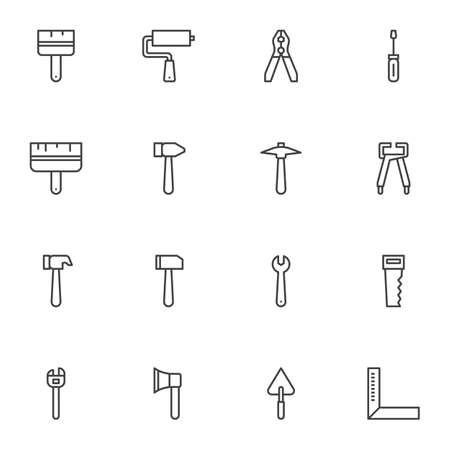 Repair and construction tool line icons set. linear style symbols collection, working tools outline signs pack. vector graphics. Set includes icons as pliers, paint brush, mallet, wrench, screwdriver