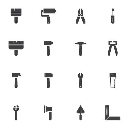 Repair and construction tool vector icons set, modern solid symbol collection, filled style pictogram pack. Signs, logo illustration. Set includes icons as pliers, paint, mallet, wrench, screwdriver