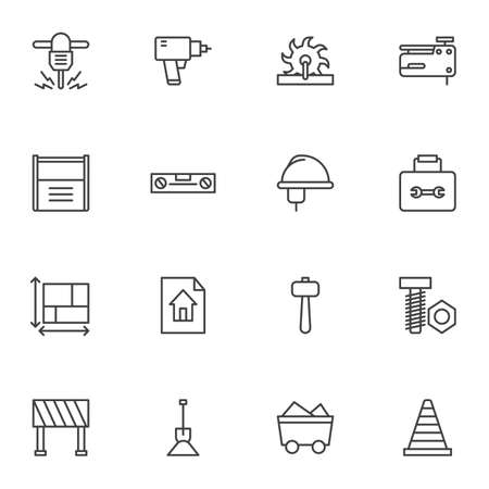 Repair tool line icons set. linear style symbols collection, construction tools outline signs pack. vector graphics. Set includes icons as hammer drill, electric saw, hard hat, blueprint, house plan Ilustracja