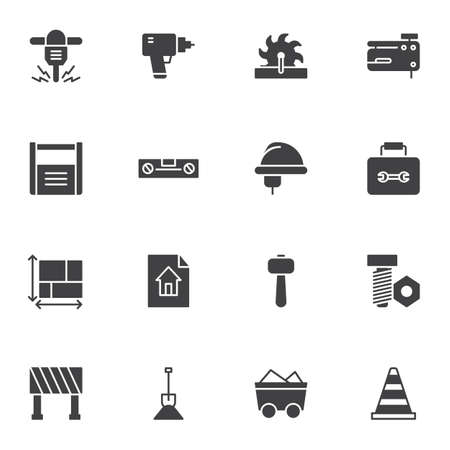 Repair tool vector icons set, modern solid symbol collection, filled style pictogram pack. Signs, logo illustration. Set includes icons as hammer drill, electric saw, hard hat, blueprint, house plan Ilustracja